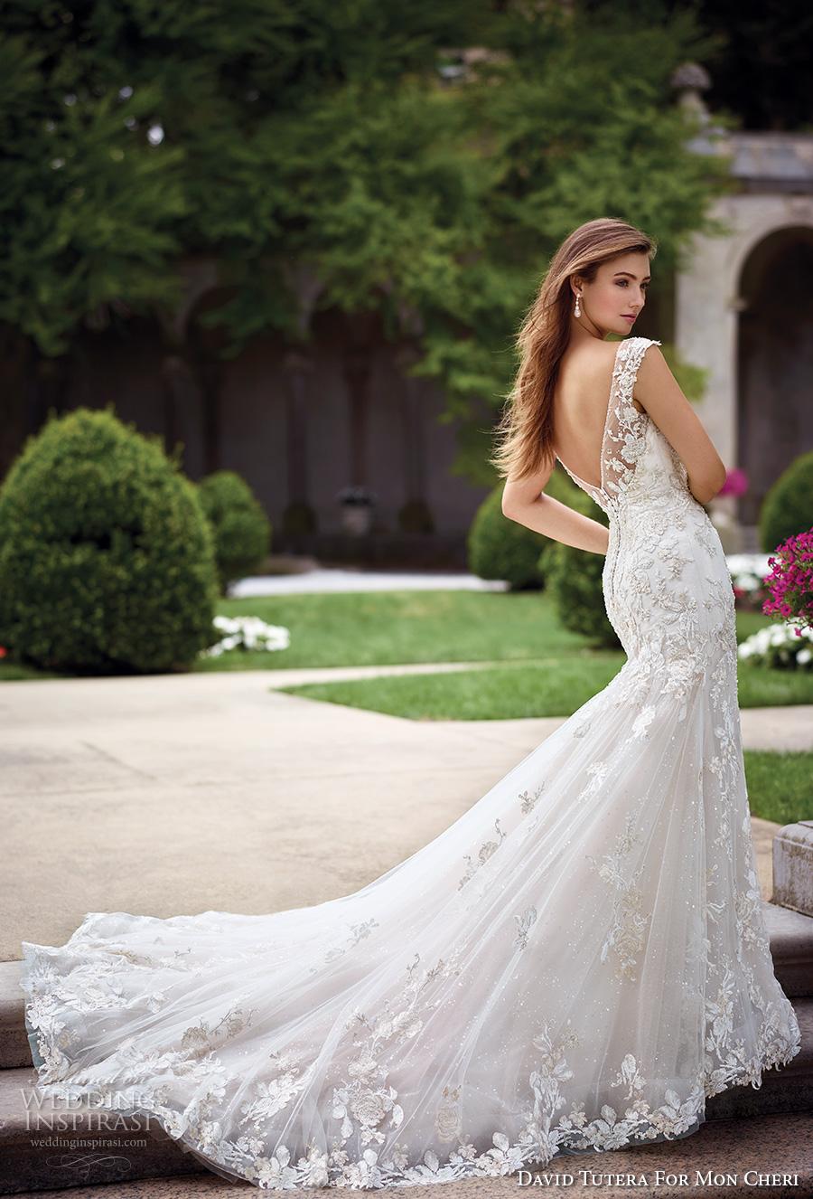david tutera mc spring 2017 bridal cap sleeves bateau neckline full embellishment elegant lace fit and flare wedding dress open v back royal train (117286) bv