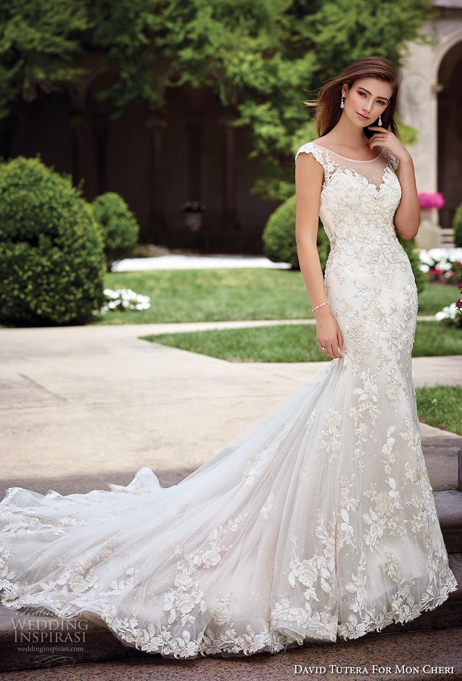 david tutera mc spring 2017 bridal cap sleeves bateau neckline full embellishment elegant lace fit and flare wedding dress open v back royal train (117286) mv