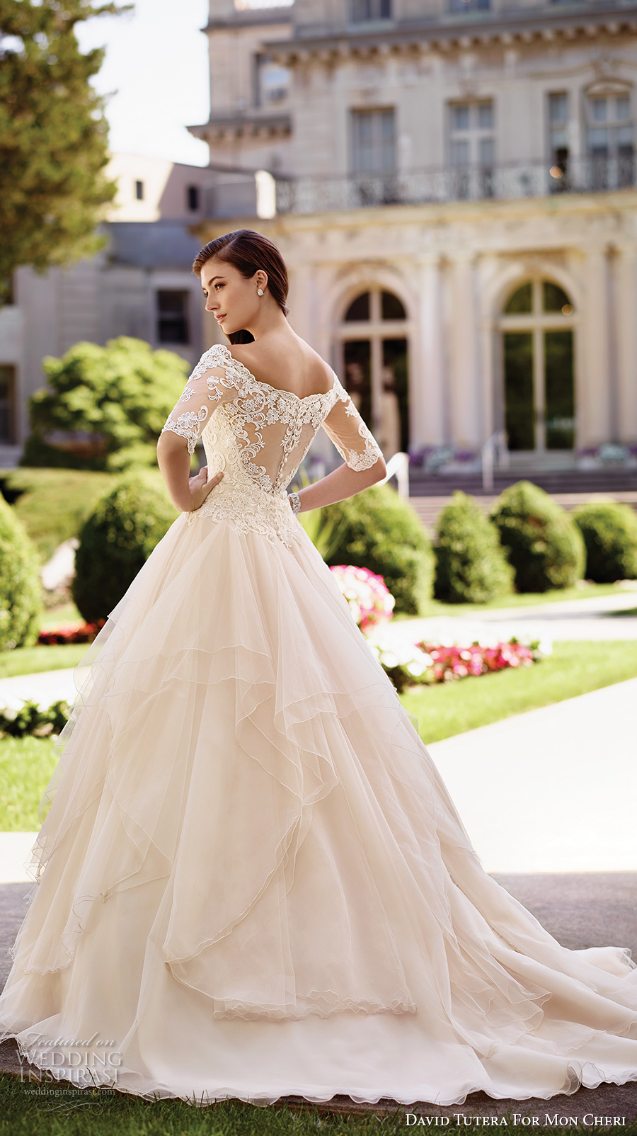 david tutera mc spring 2017 bridal half sleeves illusion off the shoulder sweetheart neckline heavily embellished bodice princess ball gown wedding dress lace back chapel train (117292) bv