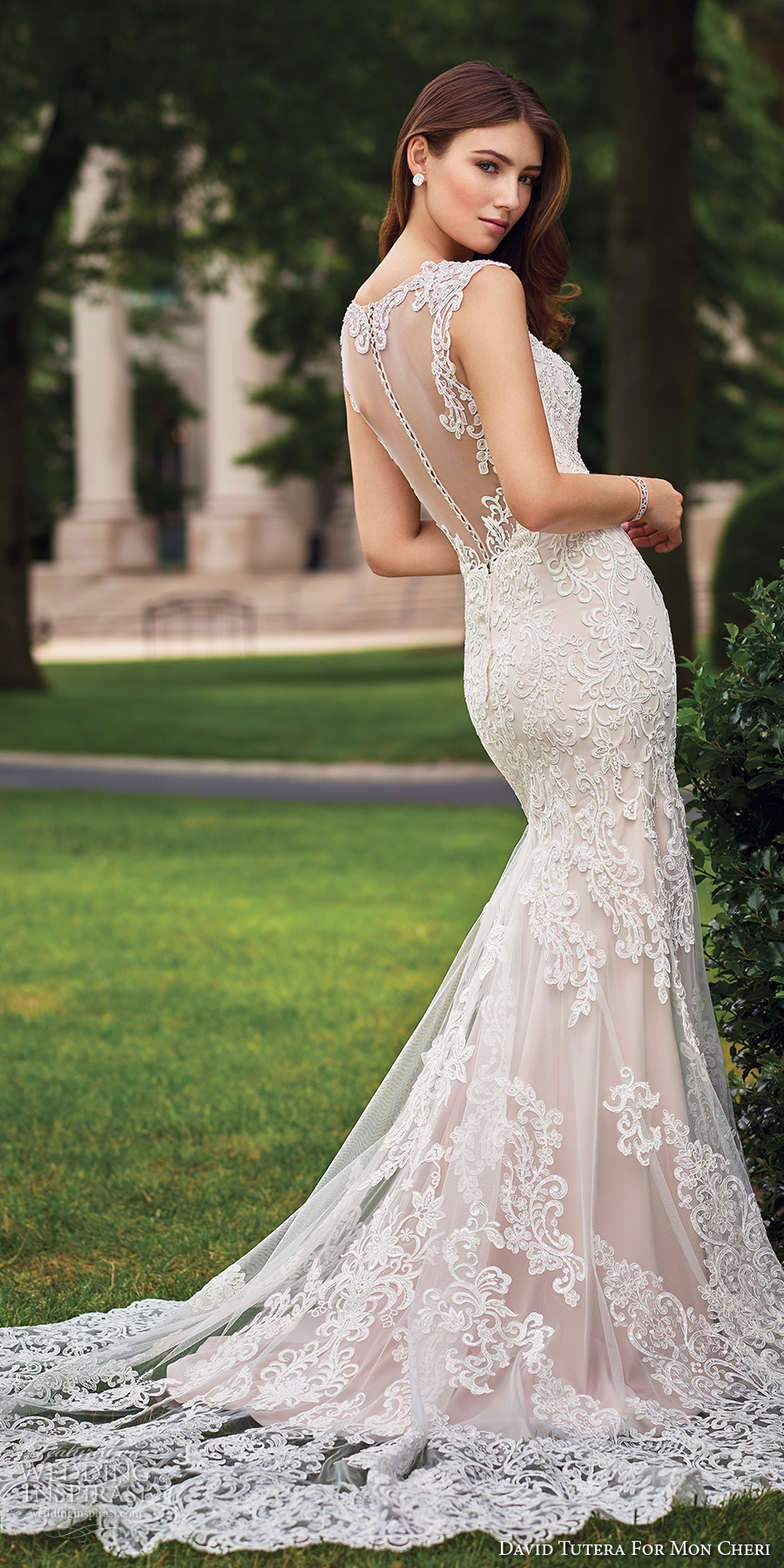 david tutera mc spring 2017 bridal lace strap sweetheart neckline heavily embroidered bodice elegant fit and flare wedding dress illusion back chapel train (117273) bv