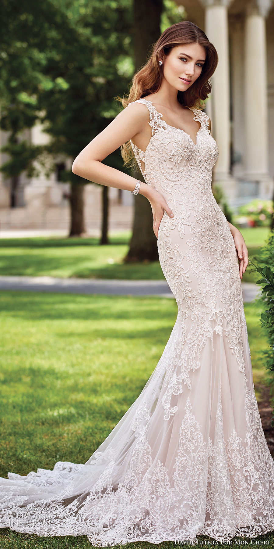 david tutera mc spring 2017 bridal lace strap sweetheart neckline heavily embroidered bodice elegant fit and flare wedding dress illusion back chapel train (117273) mv