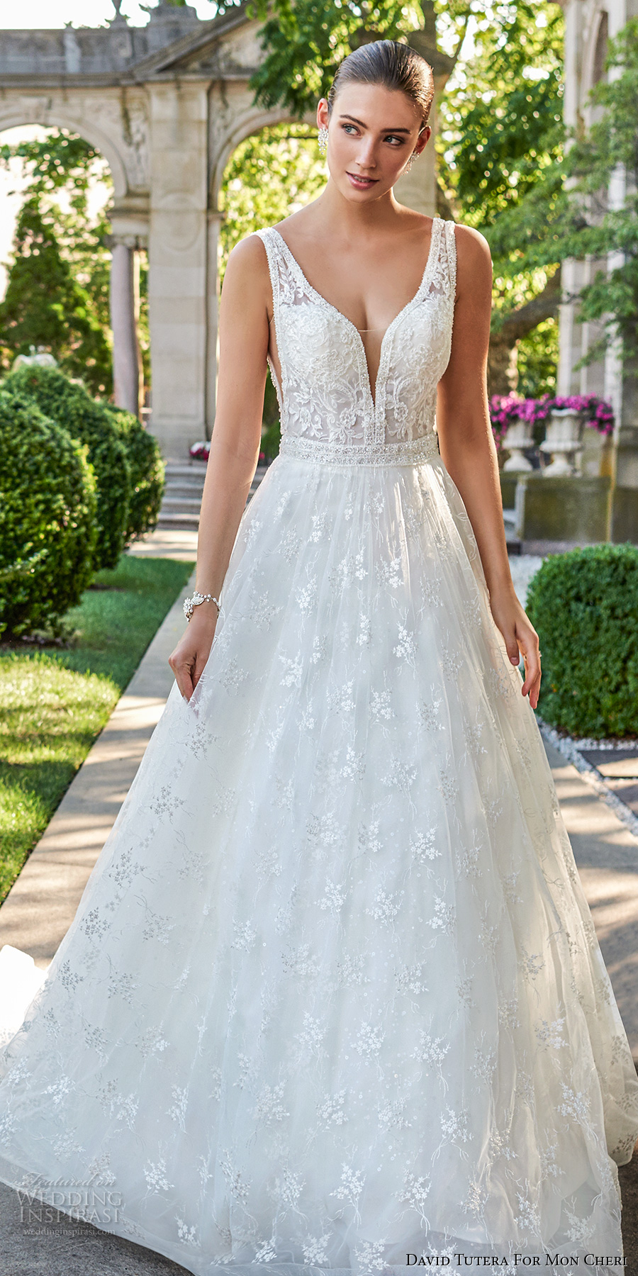 david tutera mc spring 2017 bridal sleeevless deep plunging v neck heavily embellished bodice romantic sexy ball gown a  line wedding dress open v back sweep train (117271) fv