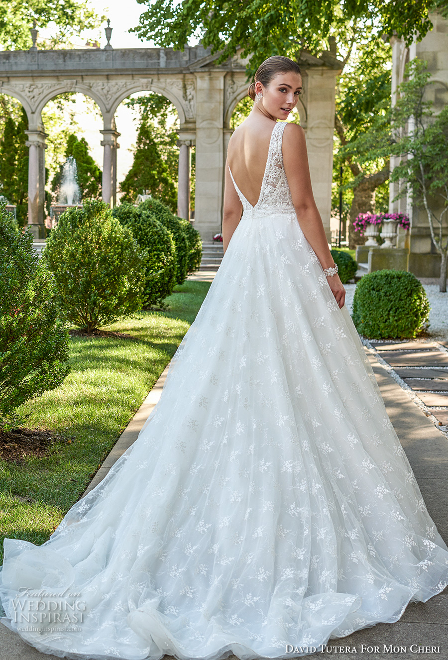 david tutera mc spring 2017 bridal sleeevless deep plunging v neck heavily embellished bodice romantic sexy ball gown a  line wedding dress open v back sweep train (117271) mv