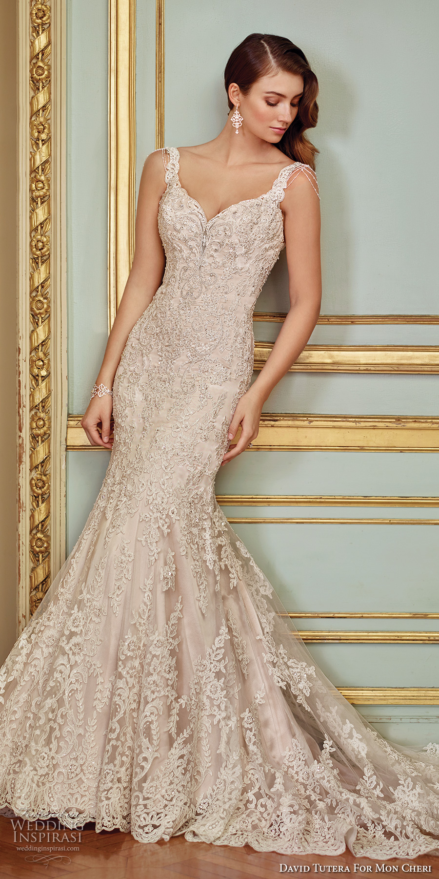 David Tutera Mc Spring 2017 Bridal Sleeveless Embrodiered Strap Sweetheart  Neckline Full Embellishment Elegant Glamorous Fit