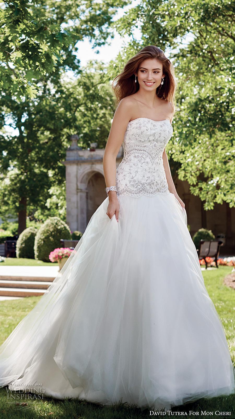 david tutera mc spring 2017 bridal strapless semi sweetheart neckline heavily embellished bodice drop waist romantic a  line wedding dress chapel train (117287) mv