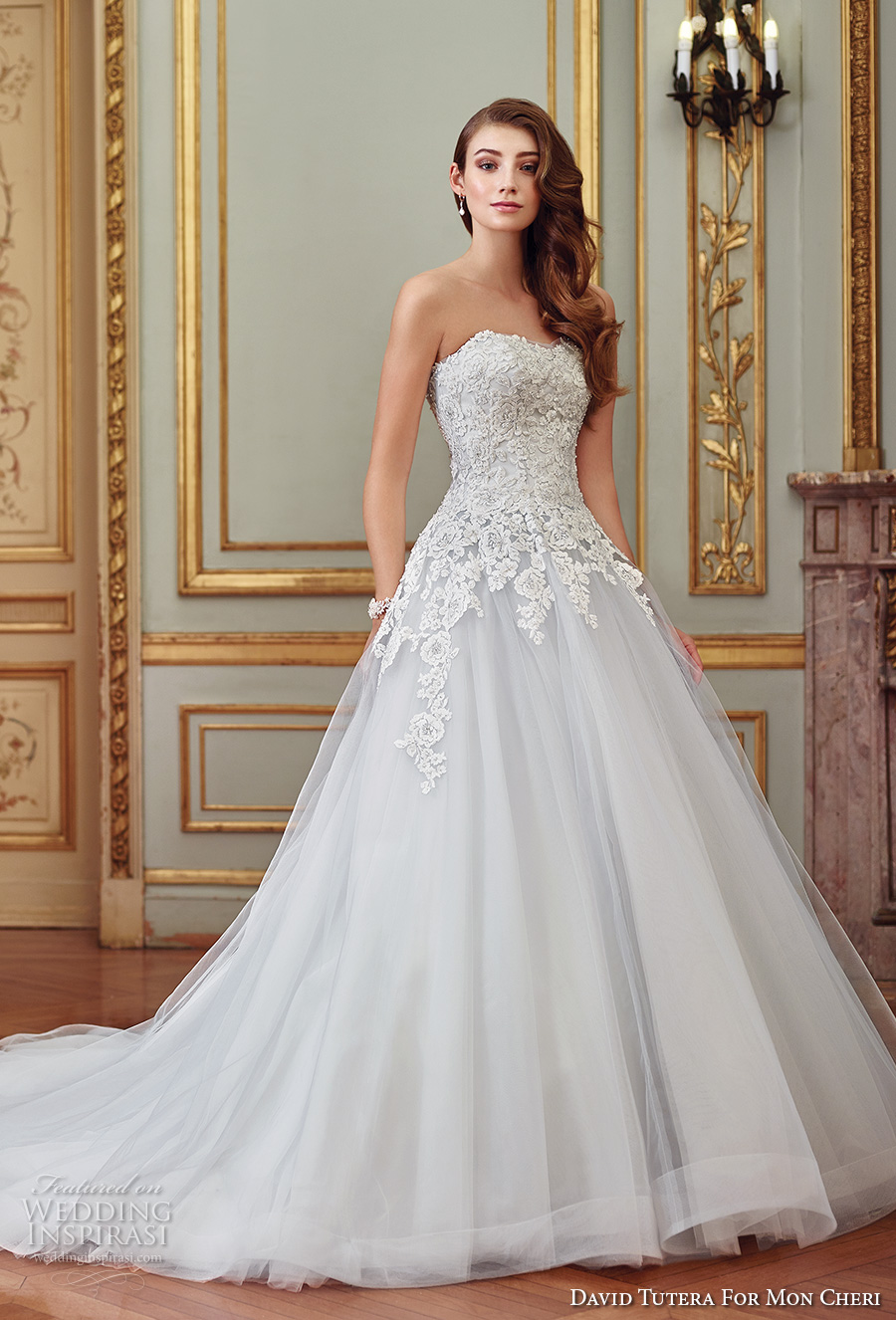 david tutera mc spring 2017 bridal strapless semi sweetheart neckline heavily embellished bodice tulle skirt romantic princess blue color a  line wedding dress chapel train (117270) mv