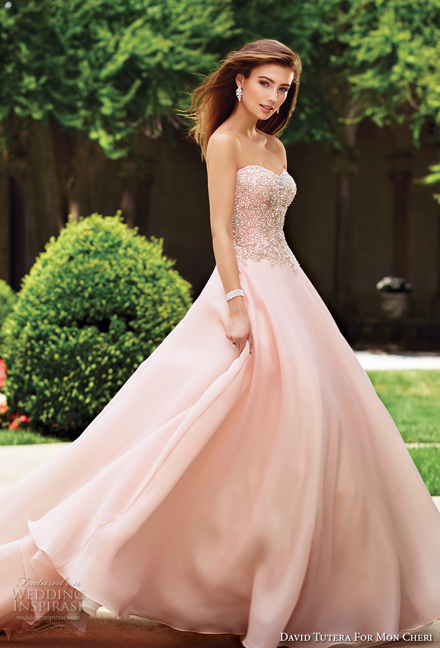 david tutera mc spring 2017 bridal strapless sweethart neckline heavily embellished bodice romantic princess pink color ball gown a  line wedding dress chapel train (117266) fv