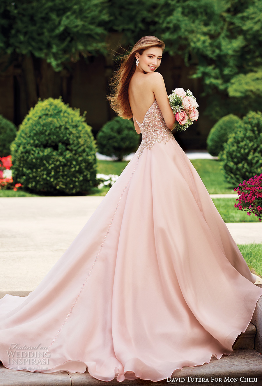 david tutera mc spring 2017 bridal strapless sweethart neckline heavily embellished bodice romantic princess pink color ball gown a  line wedding dress chapel train (117266) mv bv