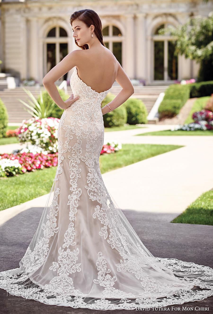 david tutera mc spring 2017 bridal strapless sweetheart neckline full embellished bodice lace elegant sheath wedding dress chapel train (117290) bv