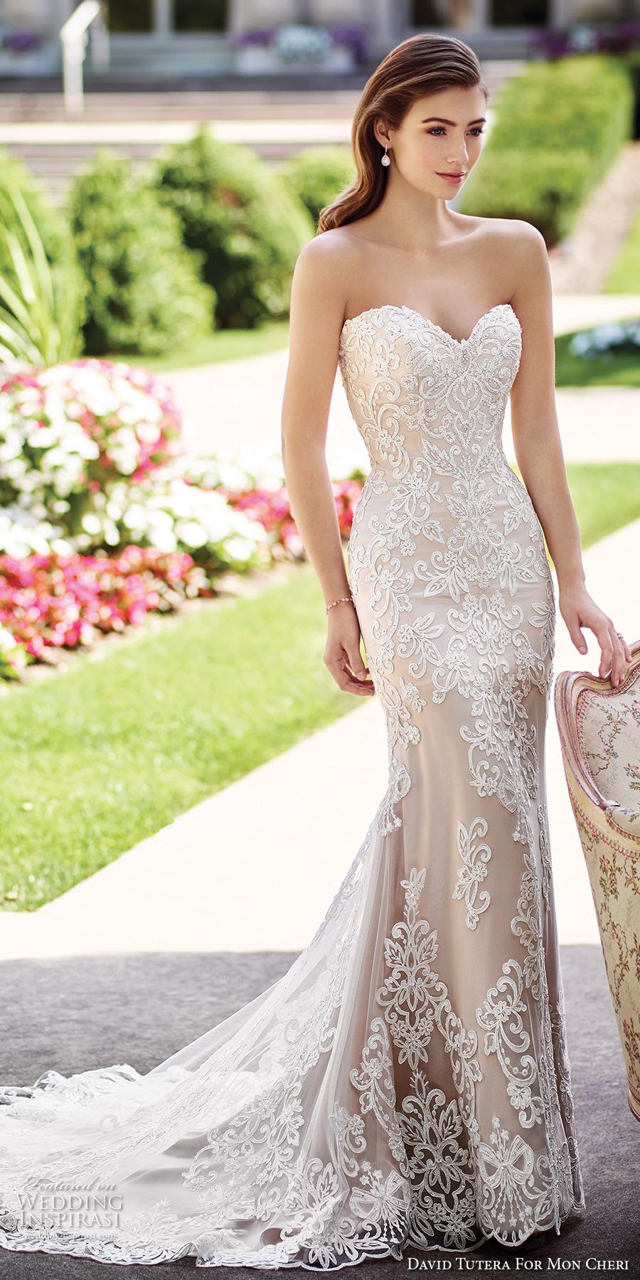 david tutera mc spring 2017 bridal strapless sweetheart neckline full embellished bodice lace elegant sheath wedding dress chapel train (117290) mv