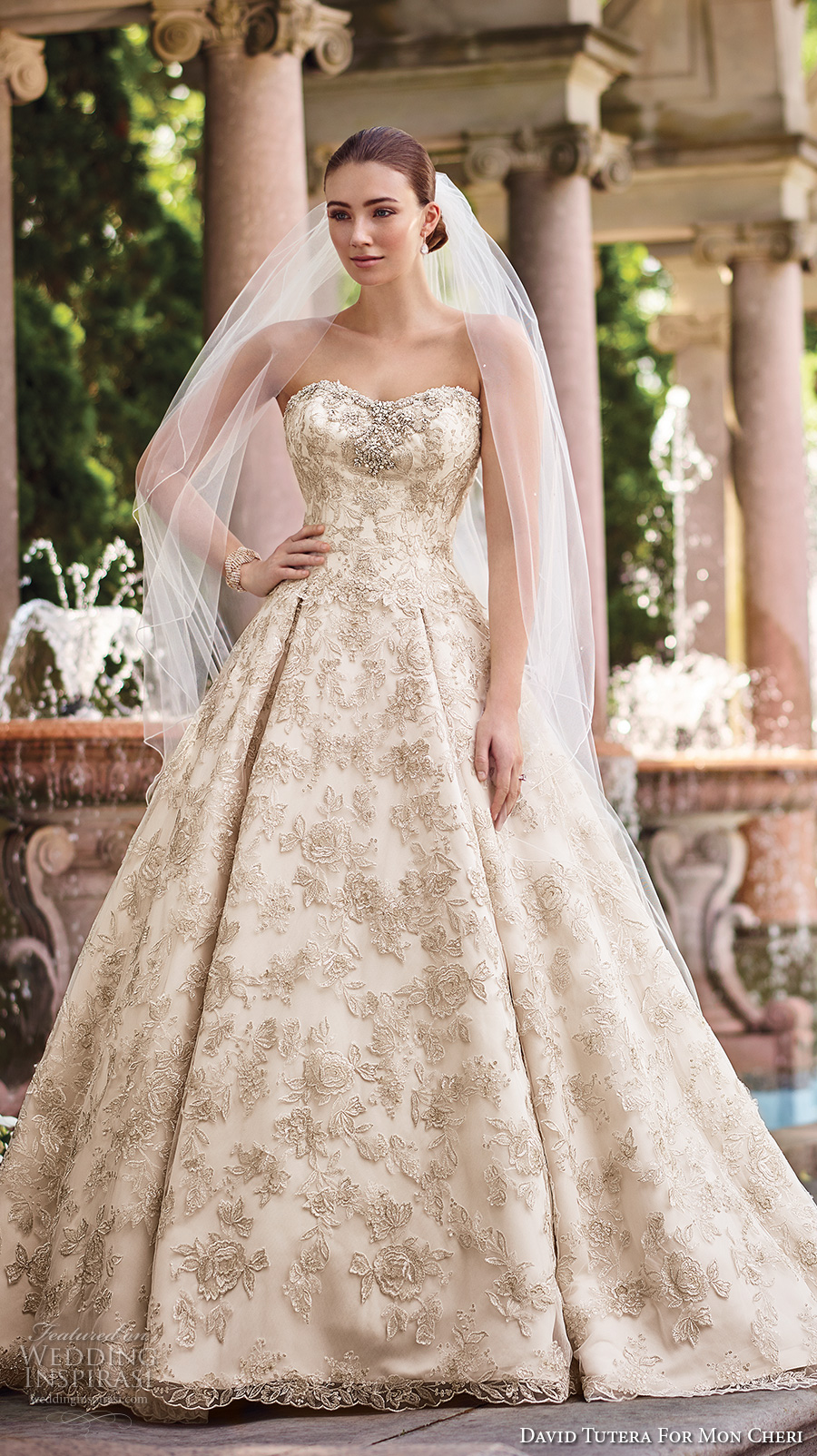 david tutera mc spring 2017 bridal strapless sweetheart neckline full embellishment gold glamorous princess ball gown a  line wedding dress chapel train (117274) mv