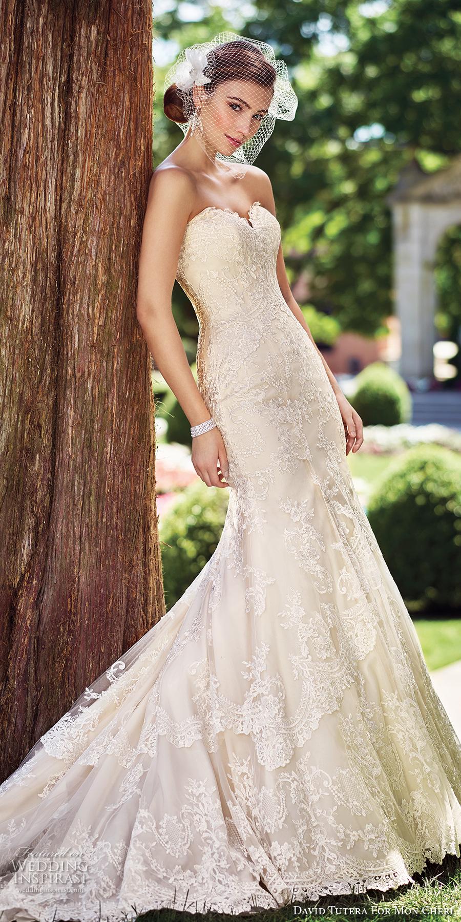 david tutera mc spring 2017 bridal strapless sweetheart neckline full embellishment ivory color elegant sheath fit and flare wedding dress chapel train (117272) mv