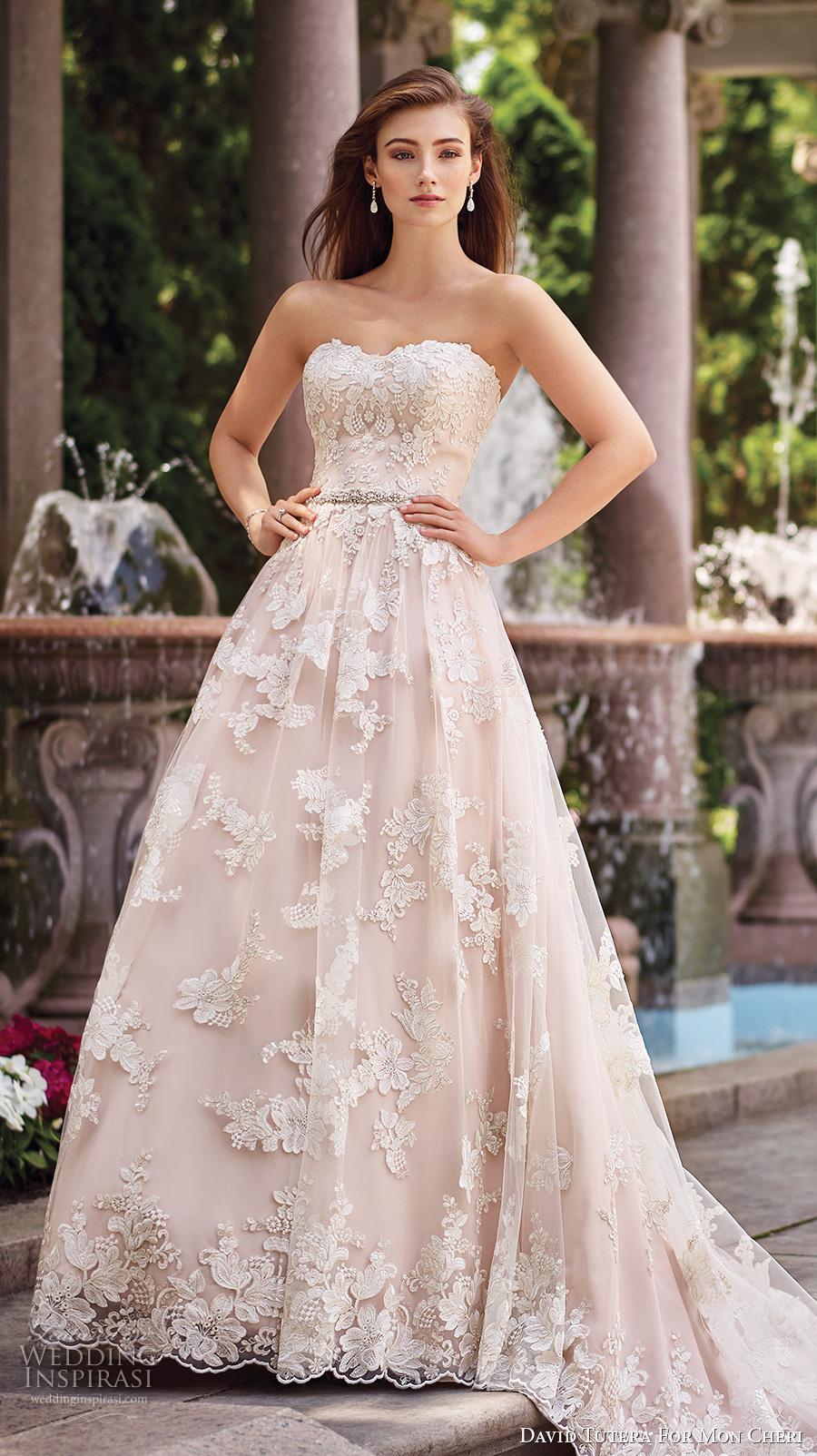 david tutera mc spring 2017 bridal strapless sweetheart neckline full embellishment lace romantic blush color a  line wedding dress chapel train (117276) mv