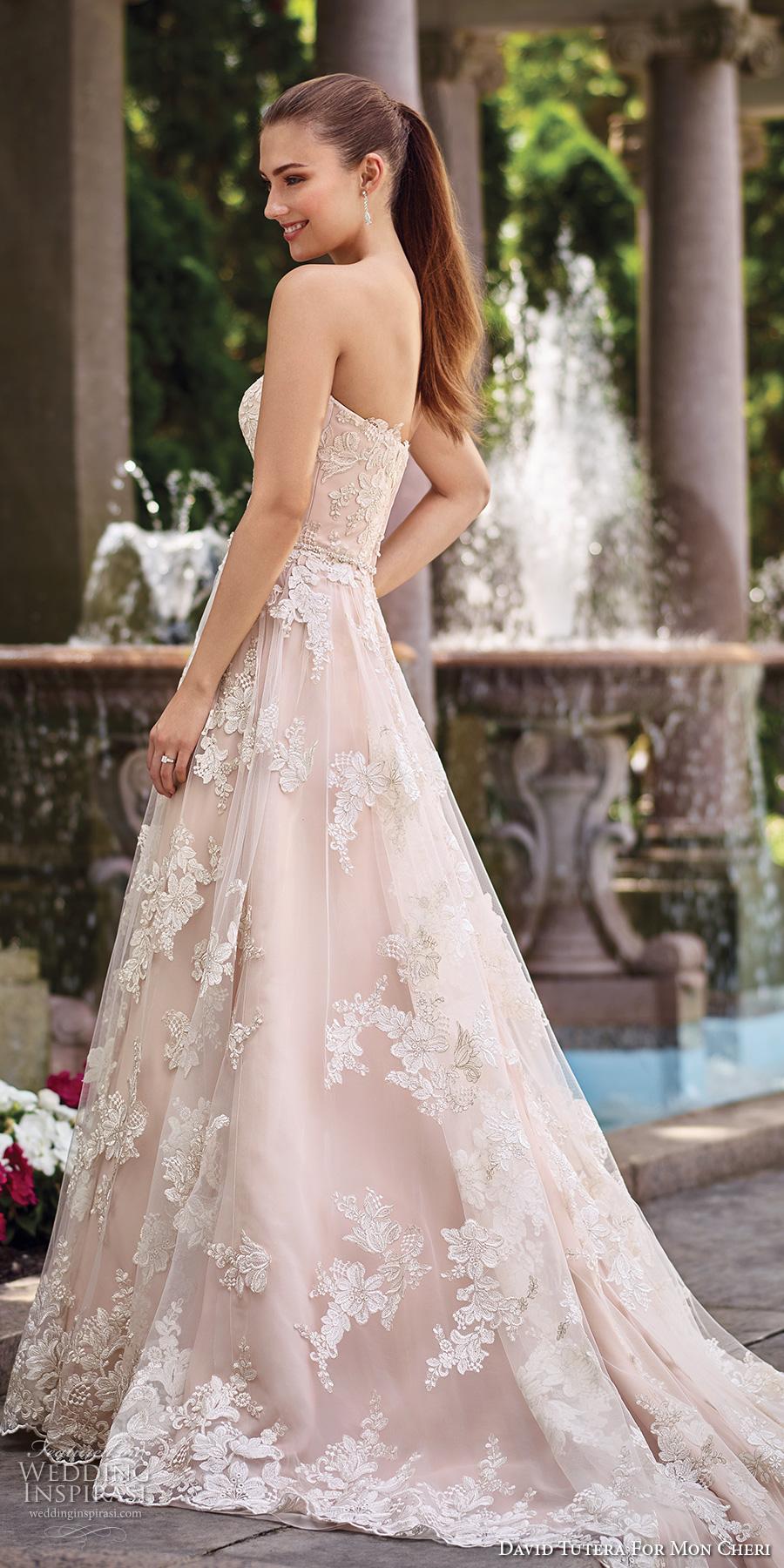 david tutera mc spring 2017 bridal strapless sweetheart neckline full embellishment lace romantic blush color a  line wedding dress chapel train (117276) sdv