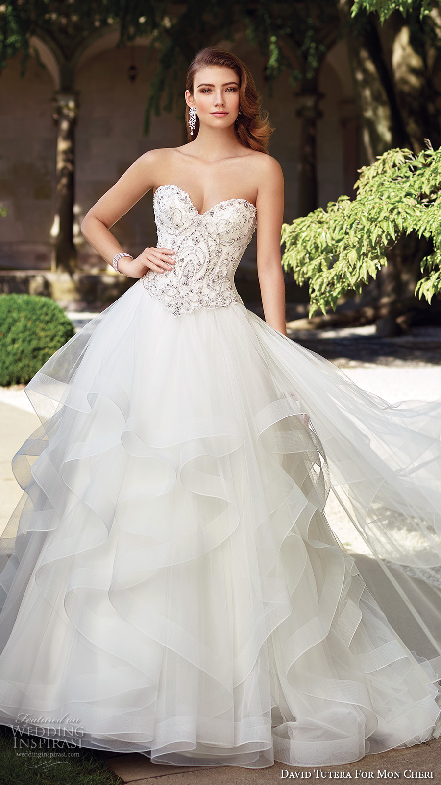david tutera mc spring 2017 bridal strapless sweetheart neckline heavily embellished bodice beaded layered tulle skirt princess ball gown a  line wedding dress sweep train (117289) mv