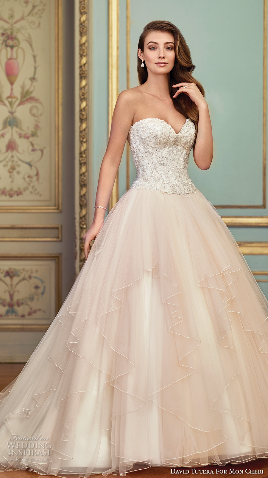 david tutera mc spring 2017 bridal strapless sweetheart neckline heavily embellished bodice bustier tulle skirt romantic princess ivory color a  line wedding dress chapel train (117285) mv