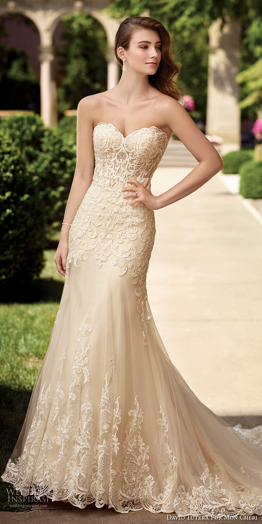 c7f771f7355 david tutera mc spring 2017 bridal strapless sweetheart neckline heavily  embellished bodice elegant ivory color sheath