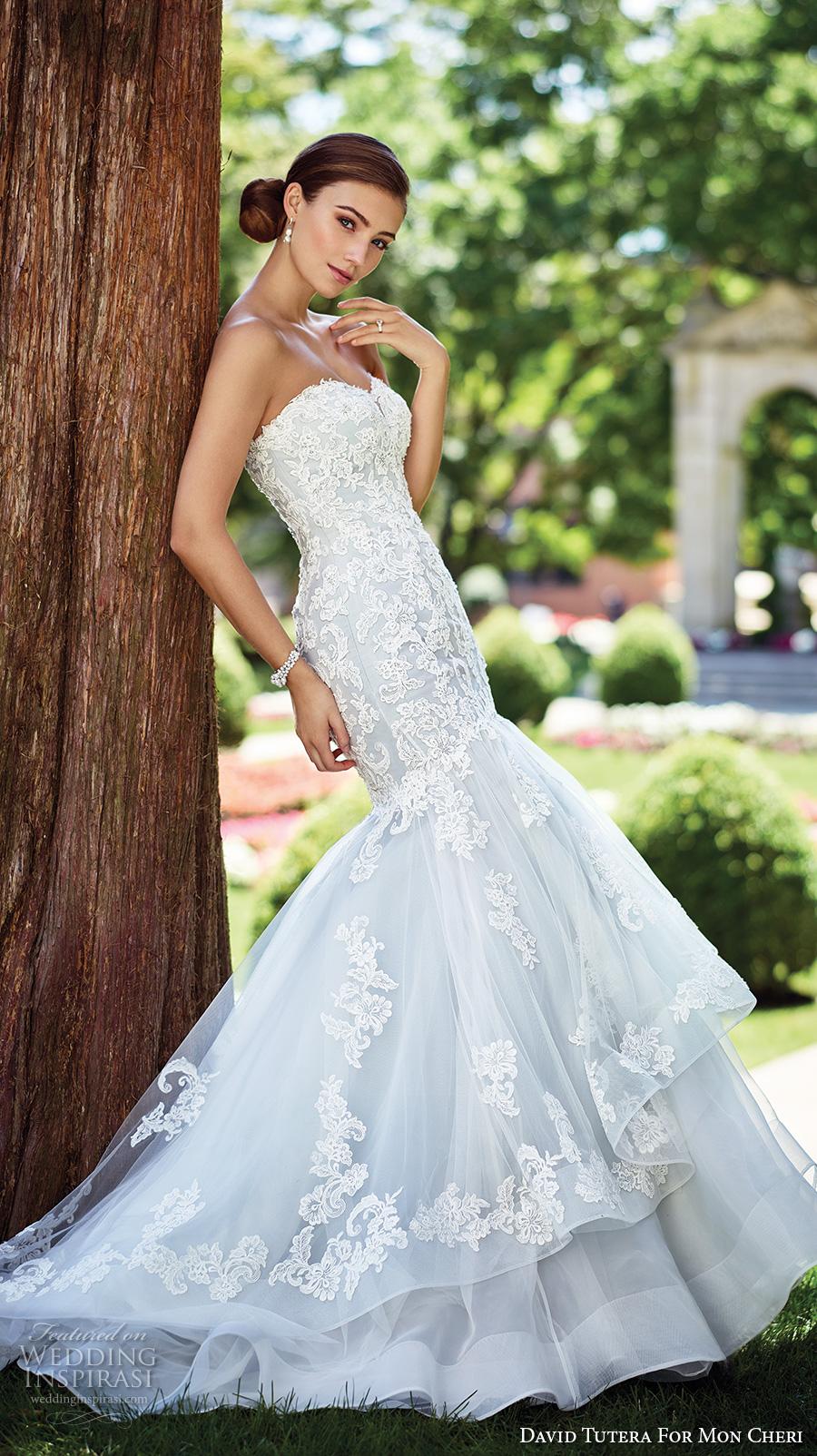 david tutera mc spring 2017 bridal strapless sweetheart neckline heavily embellished bodice romantic blue color mermaid wedding dress chapel train (117280) mv