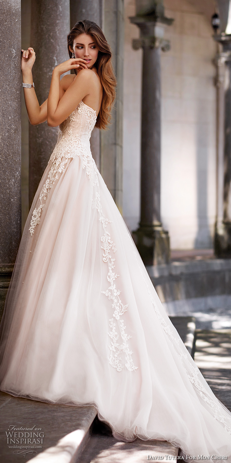 david tutera mc spring 2017 bridal strapless sweetheart neckline heavily embellished bodice tulle skirt romantic blush color a  line wedding dress chapel train (117267) sdv