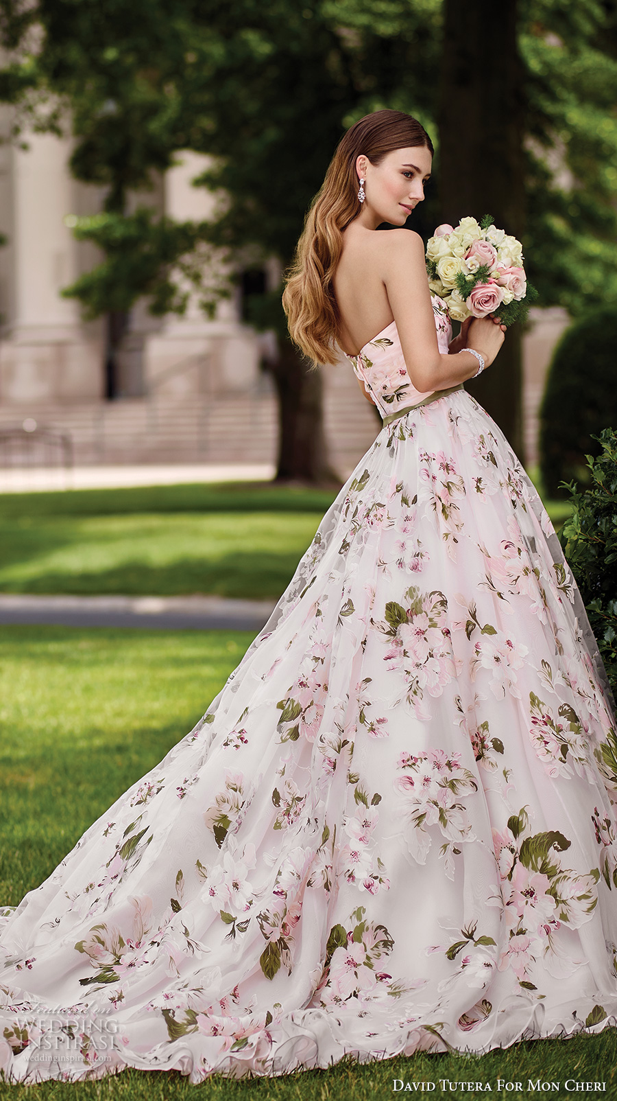 david tutera mc spring 2017 bridal strapless sweetheart neckline ruched bodice floral prints pink color romantic ball gown a  line wedding dress chapel train (117283) sdv