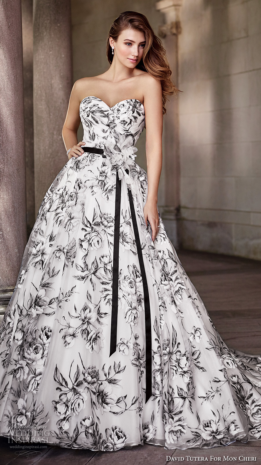 David Tutera Mc Spring 2017 Bridal Strapless Sweetheart Neckline Wrap Over  Bodice Black Floral Print Romantic