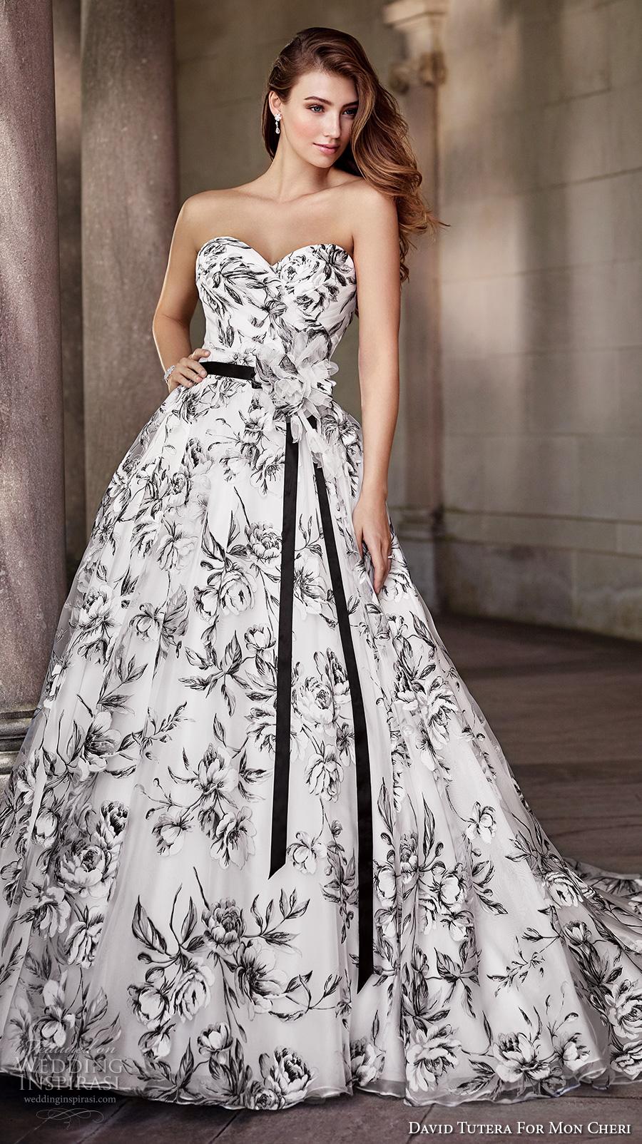 david tutera mc spring 2017 bridal strapless sweetheart neckline wrap over bodice black floral print romantic a  line wedding dress chapel train (117283) mv