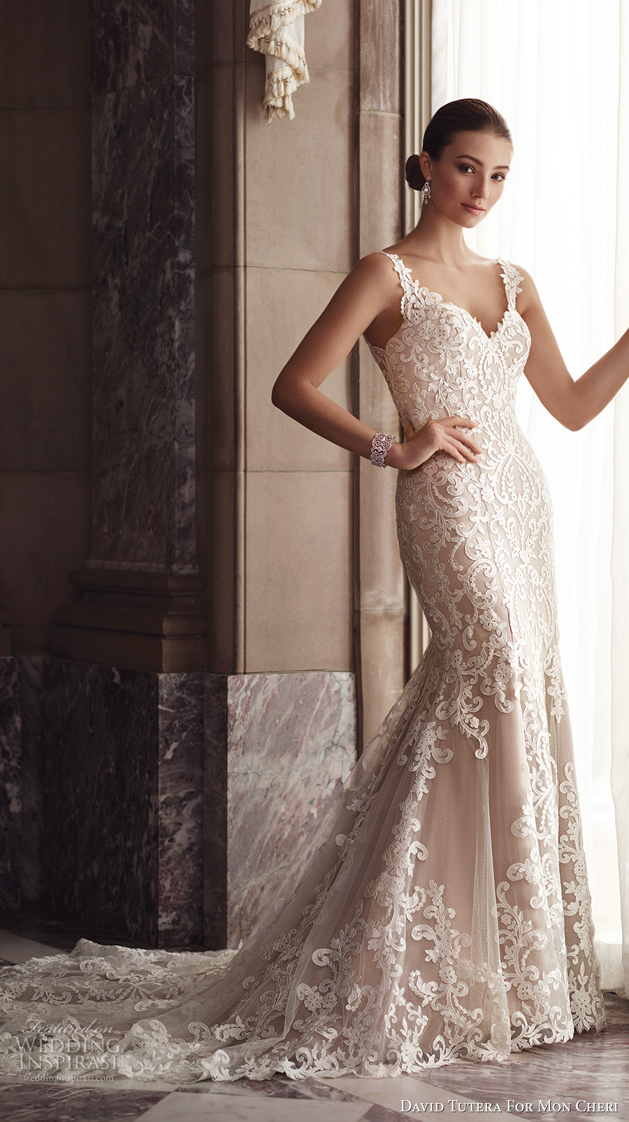 david tutera mc spring 2017 bridal thin lace strap v neckline full embroidered elegant beautiful fit and flare wedding dress illusion low back chapel train (117268)  fv