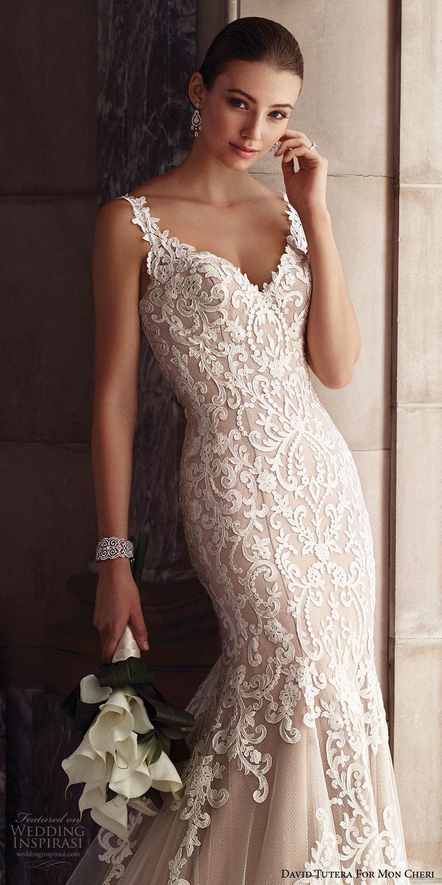 david tutera mc spring 2017 bridal thin lace strap v neckline full embroidered elegant beautiful fit and flare wedding dress illusion low back chapel train (117268)  zv