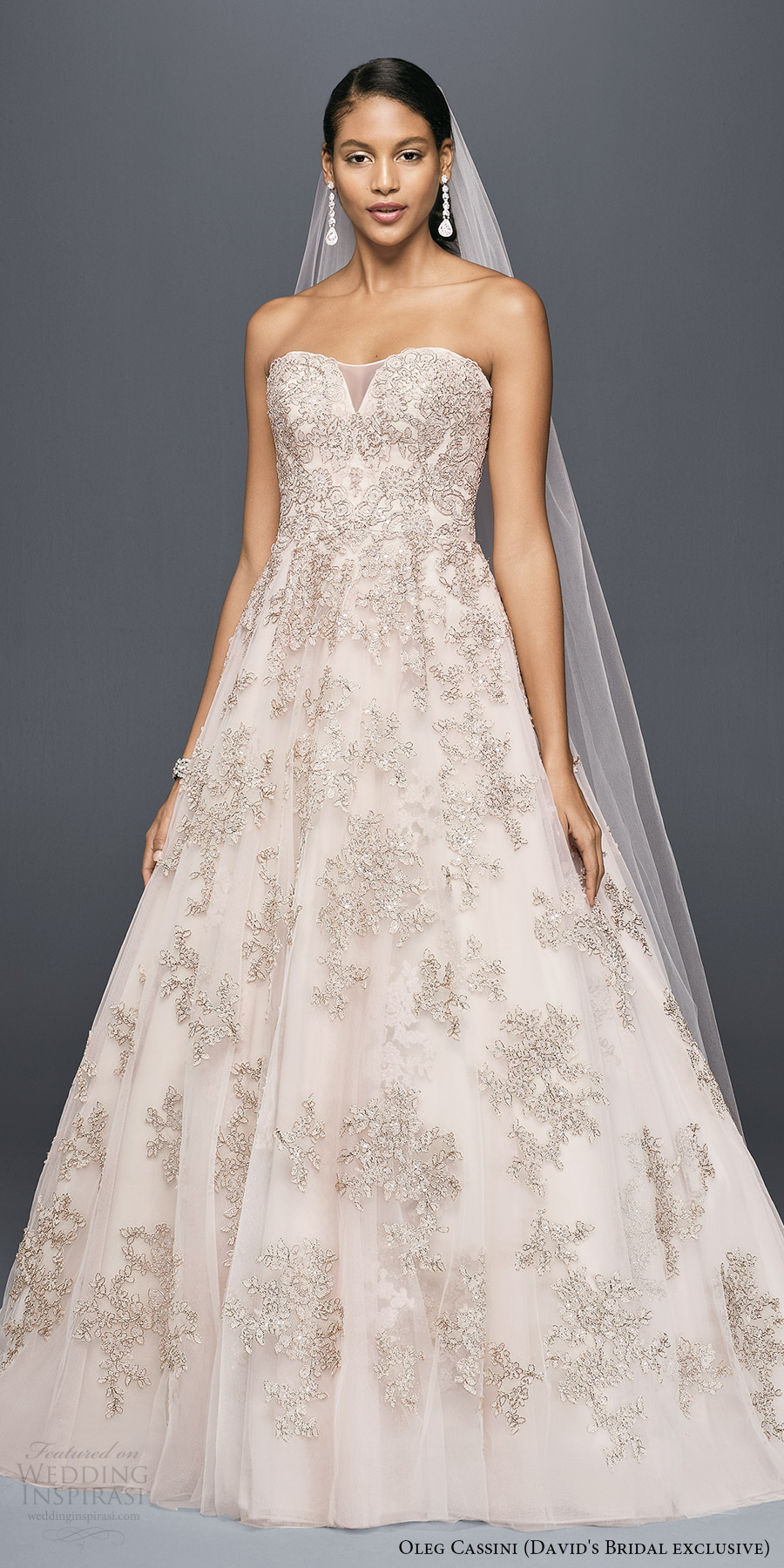 davids bridal (cwg767 oleg cassini) strapless sweetheart embellished lace a line wedding dress blush rose gold mv