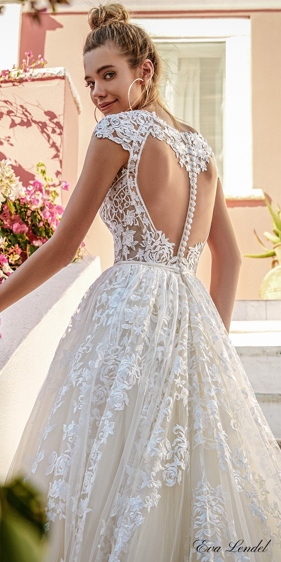 eva lendel 2017 bridal cap sleeves off the shoulder scoop neck full embellishment romantic priincess a  line wedding dress keyhole back chapel train (perry) zbv