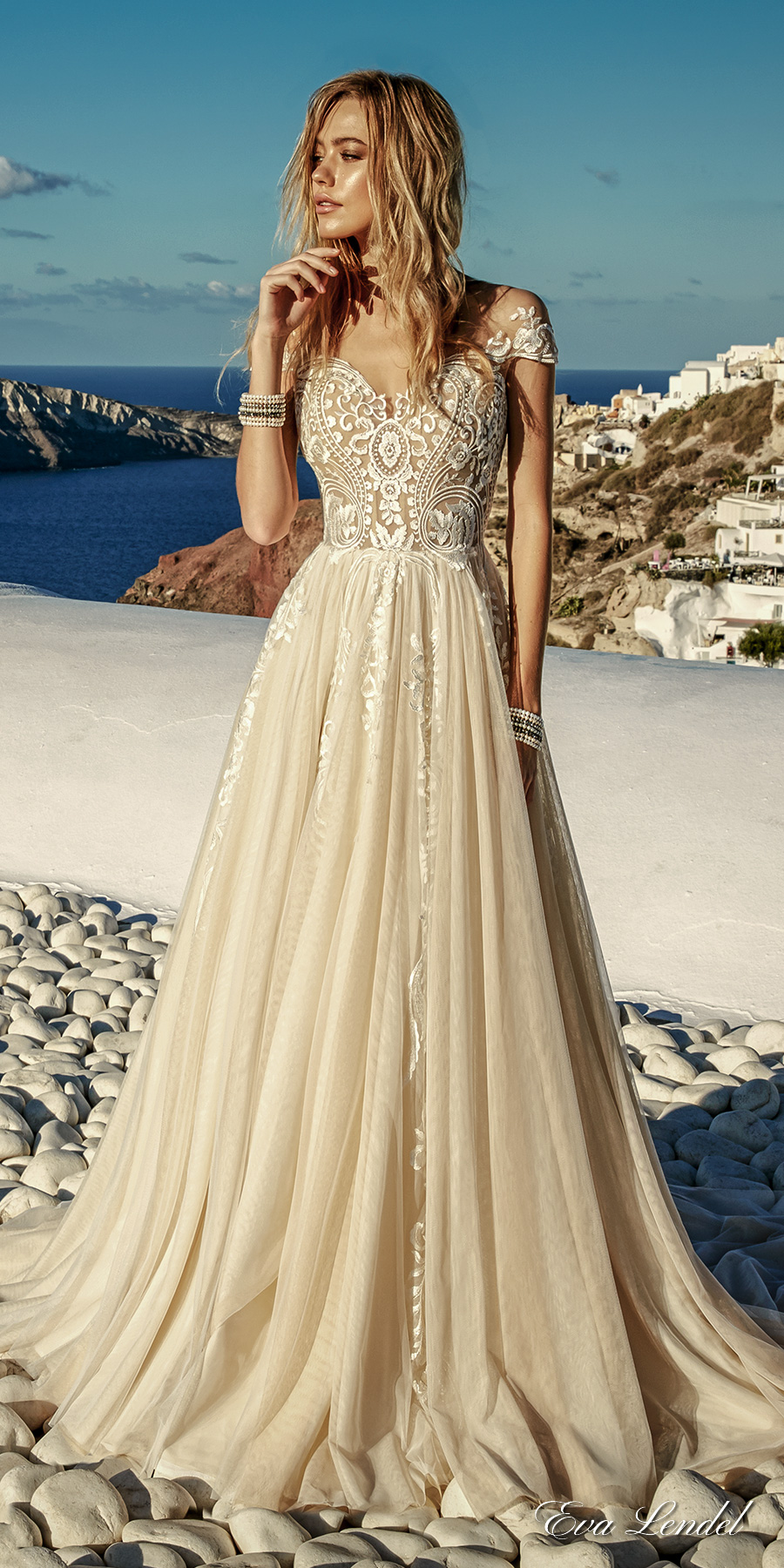 Eva lendel 2017 wedding dresses santorini bridal for Wedding dresses in color
