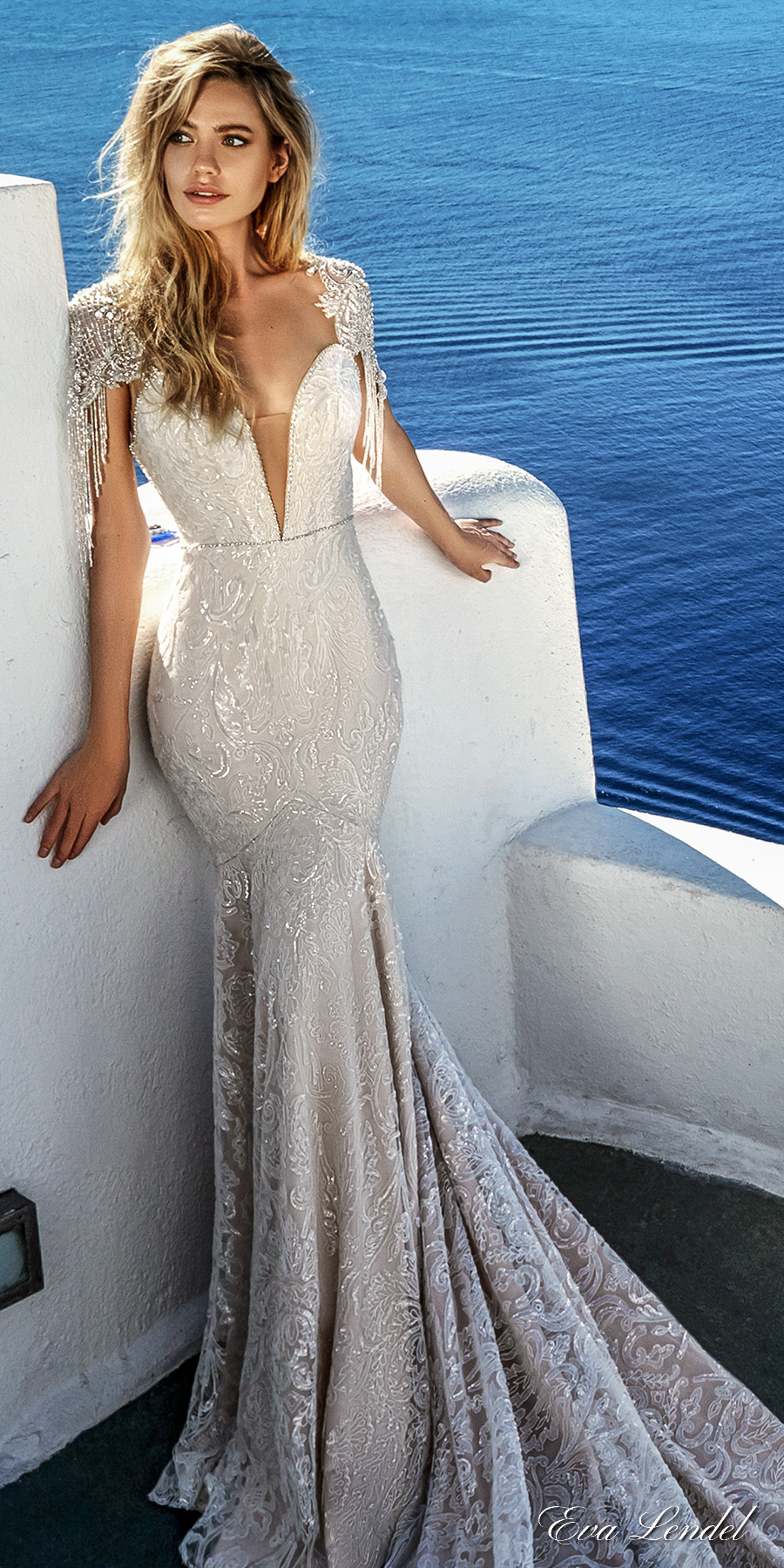 eva lendel 2017 bridal cape sleeves deep plunging sweetheart necklin full embellishment elegant sexy glamorous fit and flare sheath wedding dress keyhole back royal train (bler) mv