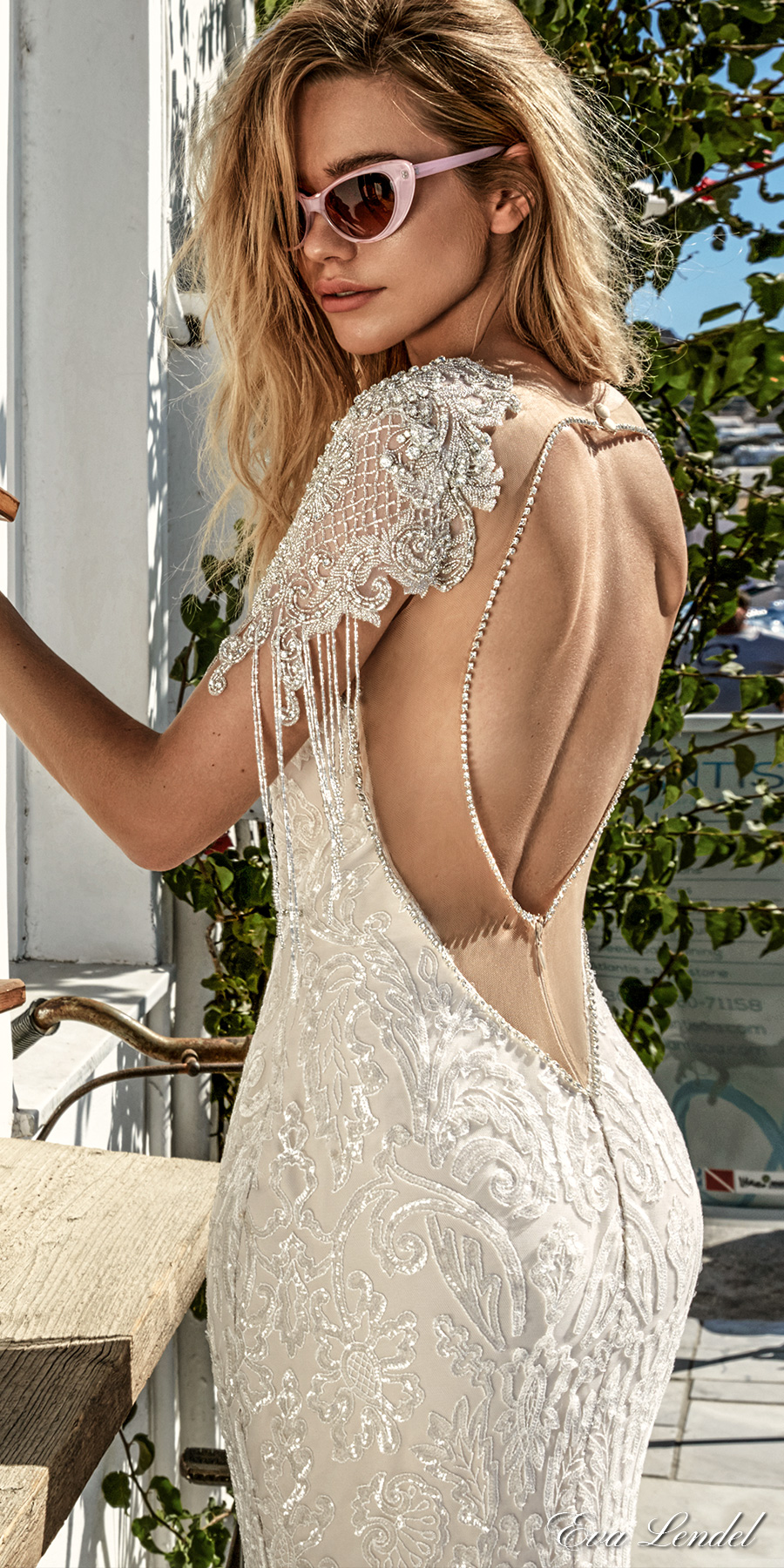 eva lendel 2017 bridal cape sleeves deep plunging sweetheart necklin full embellishment elegant sexy glamorous fit and flare sheath wedding dress keyhole back royal train (bler) zbv