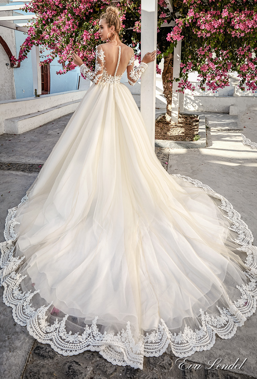 eva lendel 2017 bridal long sleeves off the shoulder sweetheart neckline heavily embellished bodice romantic princess a  line wedding dress sheer back royal train (paige) bv
