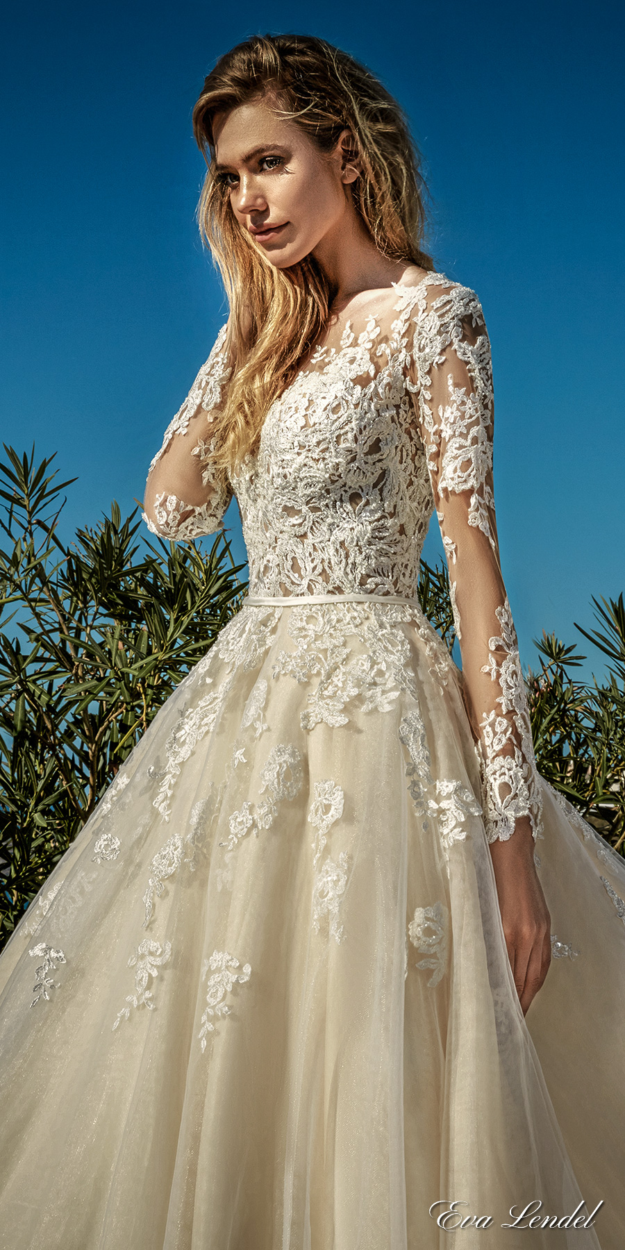 7de2270314e eva lendel 2017 bridal long sleeves v neck heavily embellished bodice  romantic princess ivory a line