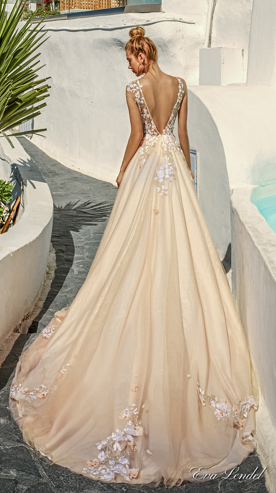 eva lendel 2017 bridal sheer cap sleeves sheer jewel neck sweetheart neckline heavily embellished bodice blush color romantic a  line wedding dress open v back chapel train (kate) bv