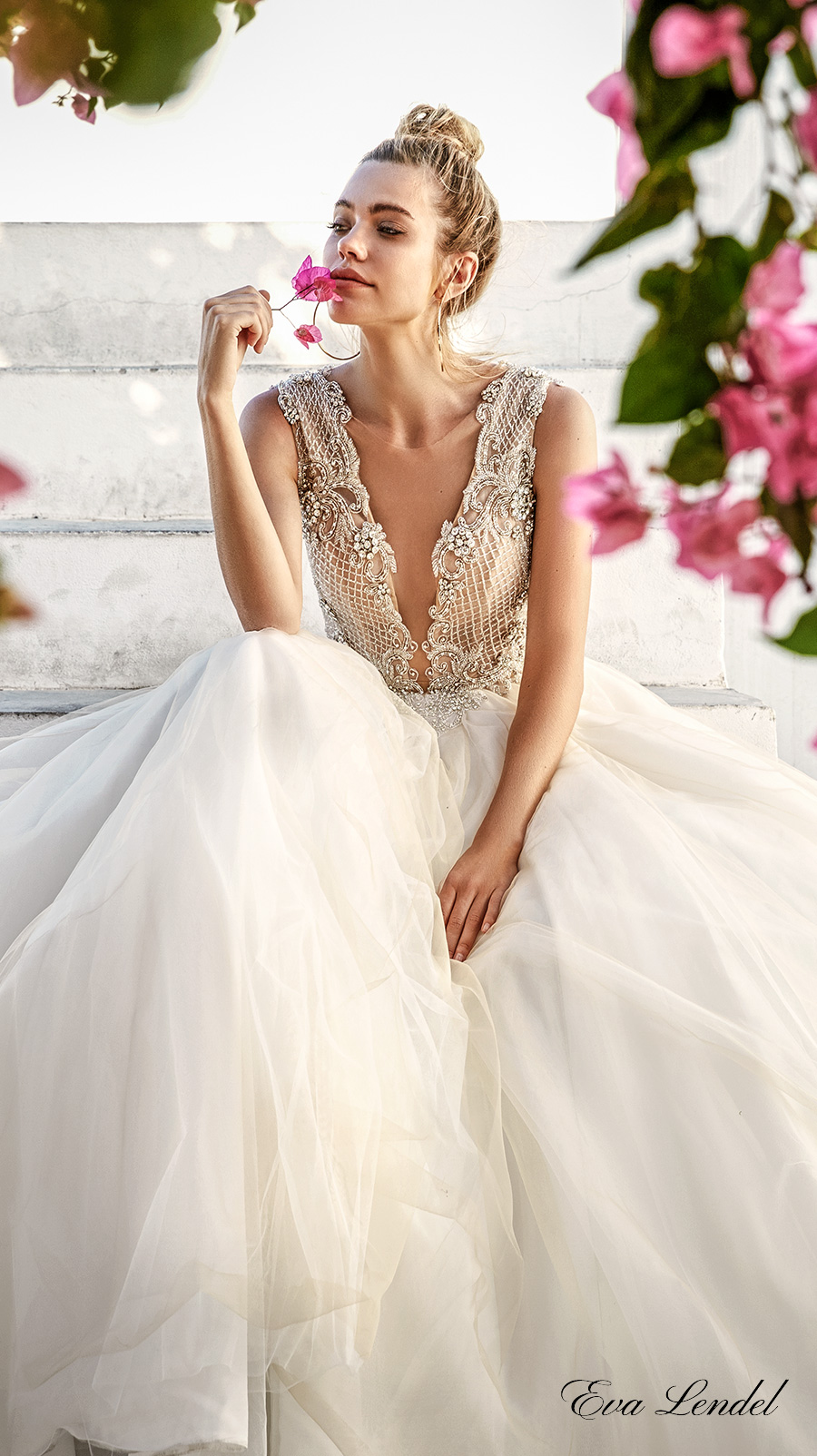 366f091c8fc eva lendel 2017 bridal sleeveless deep plunging v neck heavily embellished  bodice romantic sexy ball gown