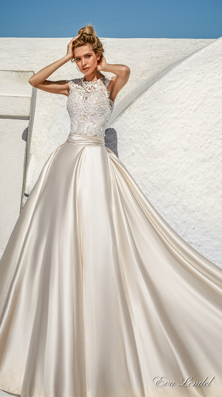 Eva lendel 2017 wedding dresses santorini bridal for Satin a line wedding dress