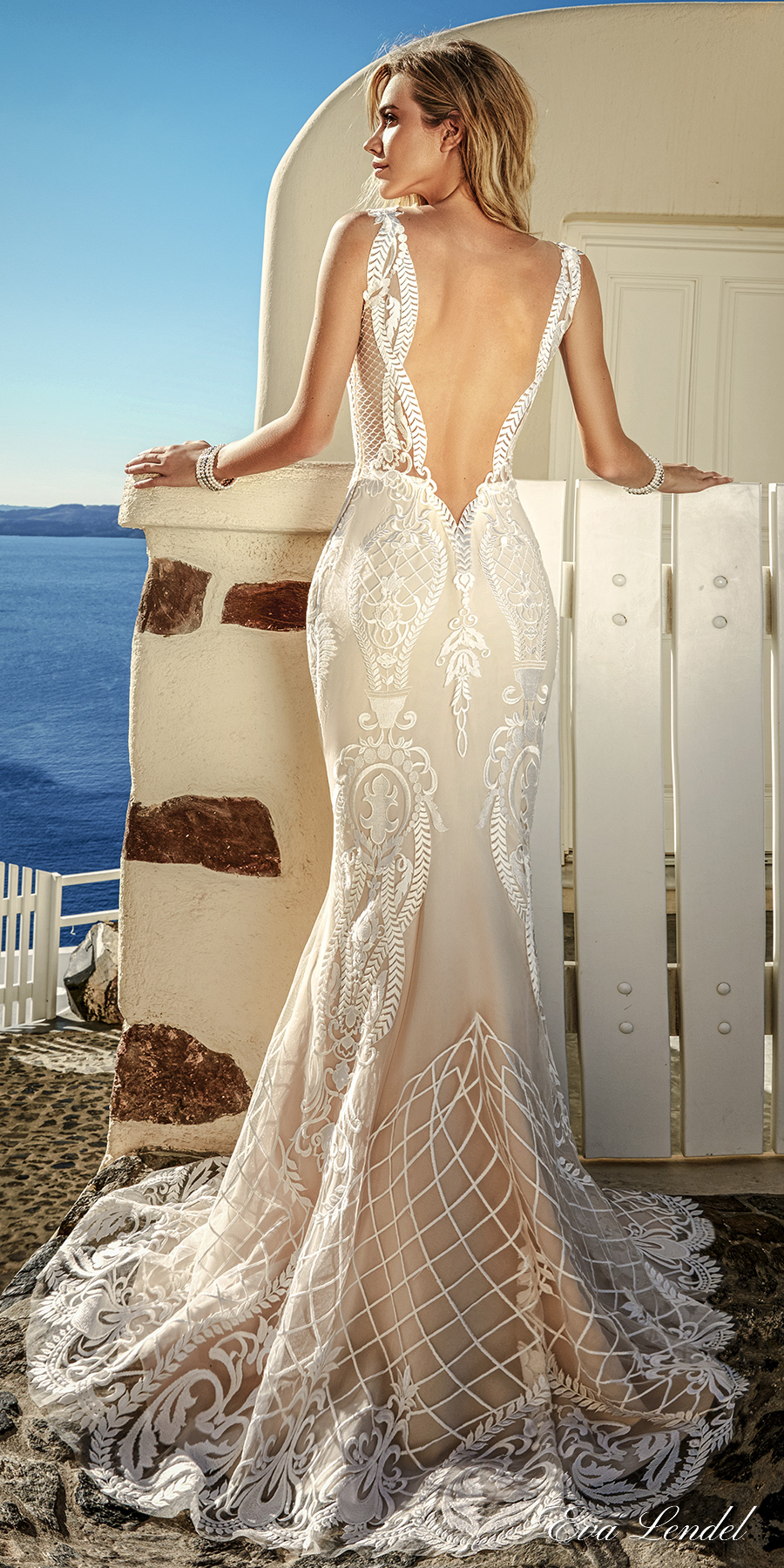 eva lendel 2017 bridal sleeveless thin strap v neckline full embellishment elegant sexy fit and flare wedding dress open low v back sweep train (tailor) bv
