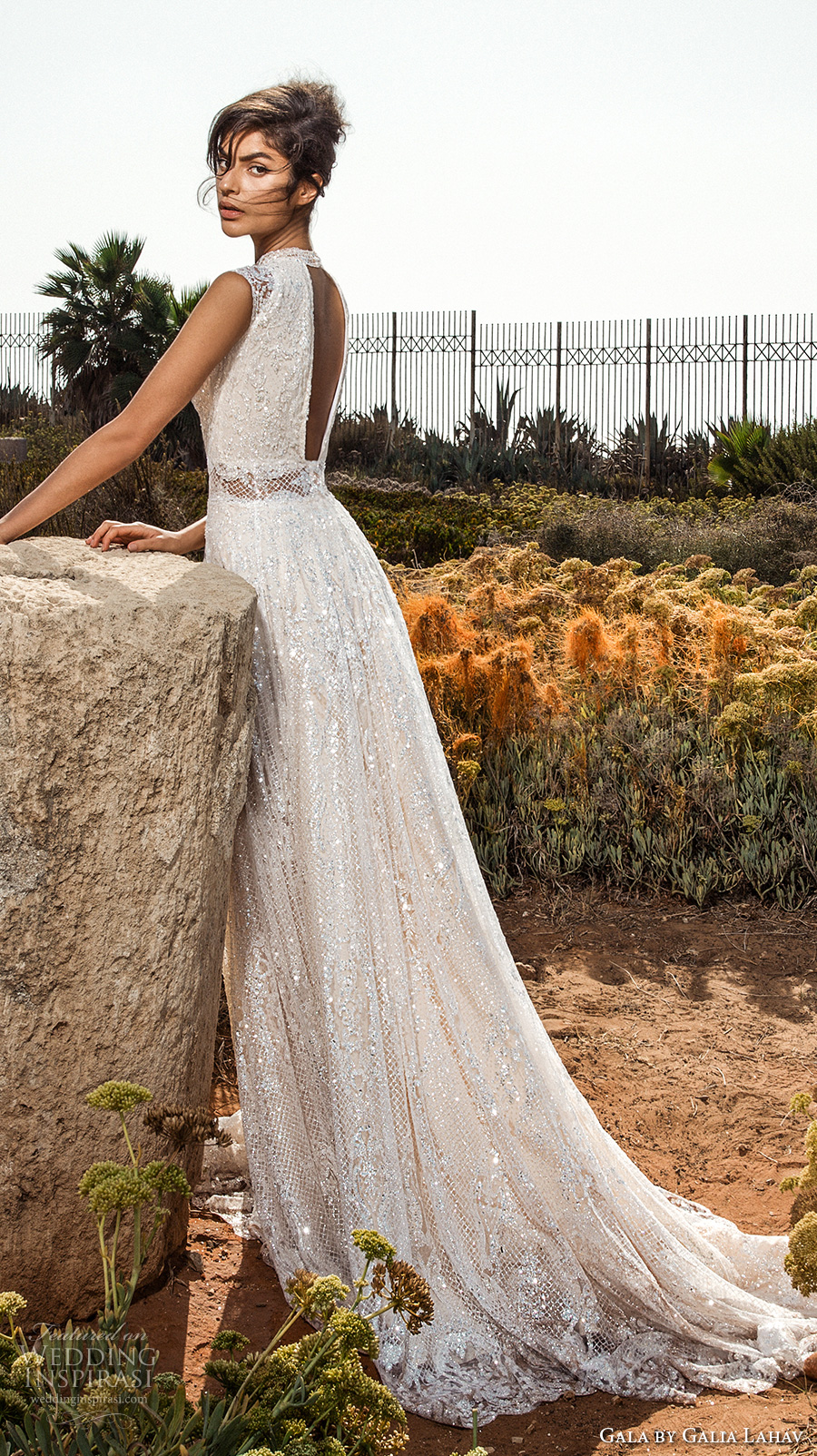 galia lahav gala 2017 bridal cap sleeves high jewel neck full embellishment beaded crystals romantic glamorous a  line wedding dress open low back chapel train (803) bv sdv