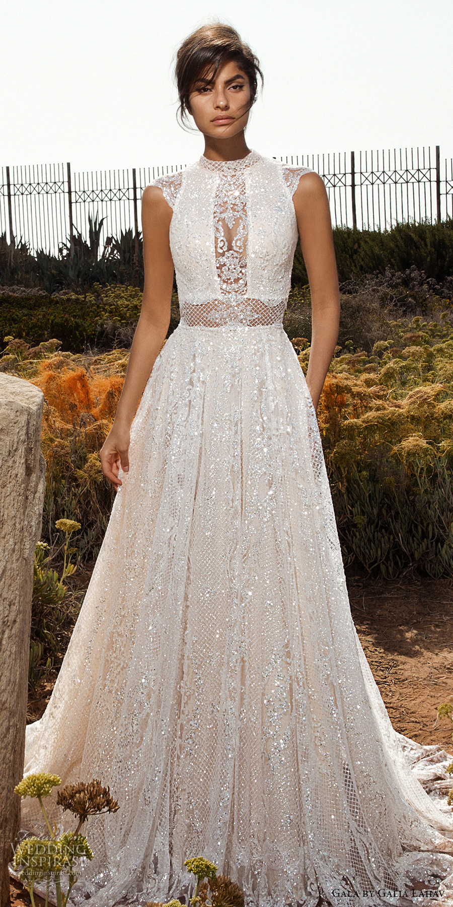 galia lahav gala 2017 bridal cap sleeves high jewel neck full embellishment beaded crystals romantic glamorous a  line wedding dress open low back chapel train (803) mv