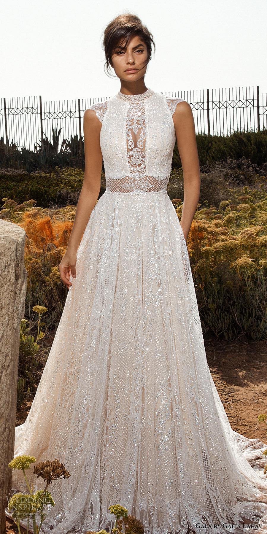 galia lahav gala 2017 bridal cap sleeves high jewel neck full embellishment beaded crystals romantic glamorous a  line wedding dress open low back chapel train (803) mv