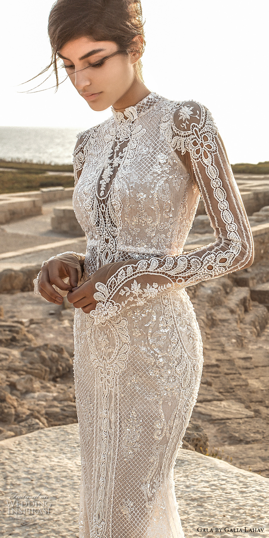 galia lahav gala 2017 bridal long sleeves high neck full embellishment crystals beaded elegant lace sheath wedding dress keyhole back chapel train (805) zv