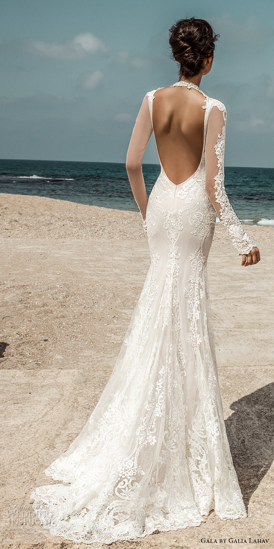 galia lahav gala 2017 bridal long sleeves illusion high jewel sweetheart neckline heavily embellished bodic elegant lace fit and flare wedding dress open low back sweep train (801) bv