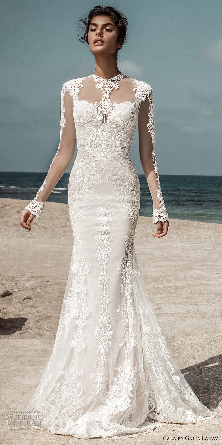 galia lahav gala 2017 bridal long sleeves illusion high jewel sweetheart neckline heavily embellished bodic elegant lace fit and flare wedding dress open low back sweep train (801) mv
