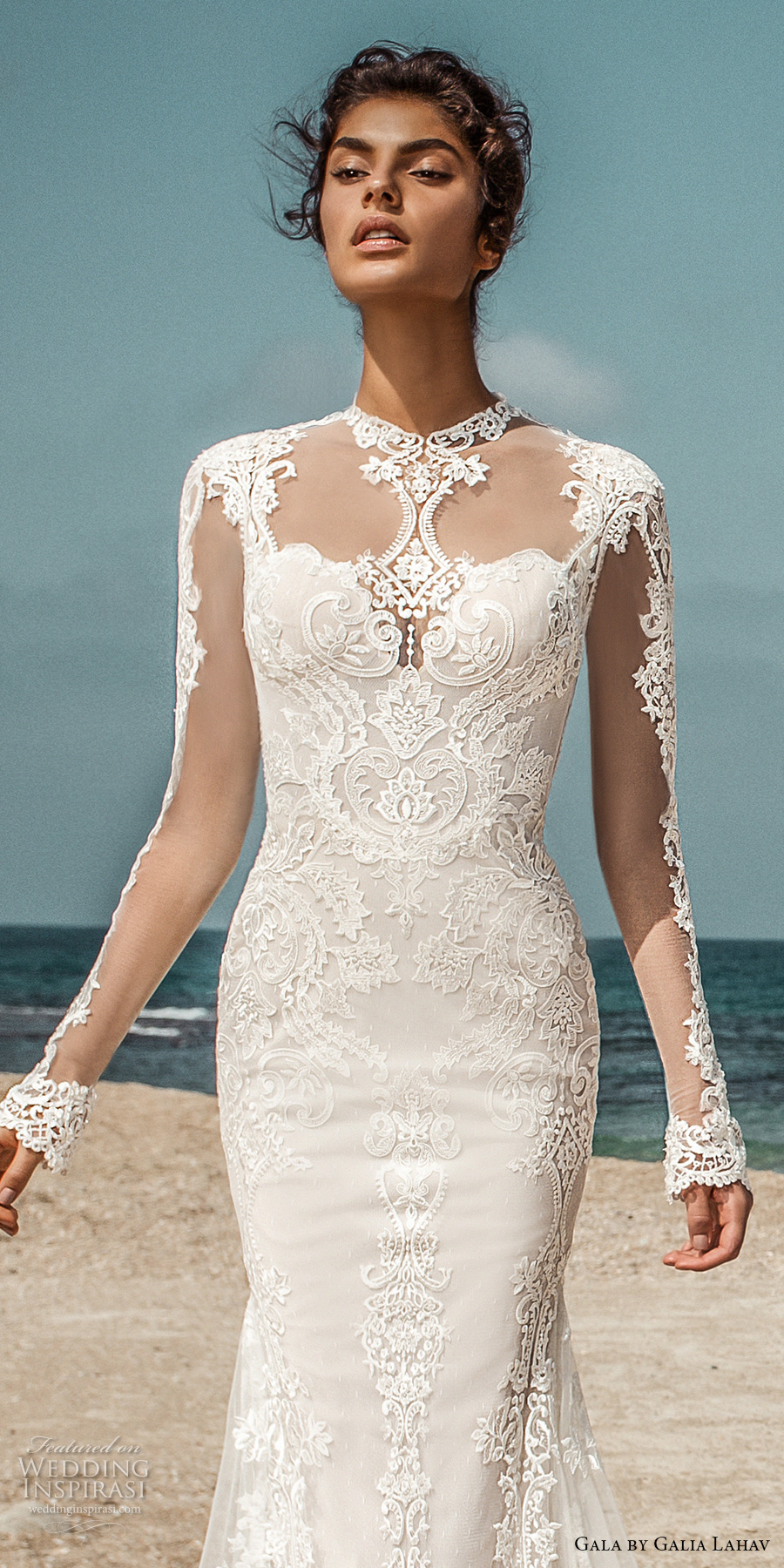 galia lahav gala 2017 bridal long sleeves illusion high jewel sweetheart neckline heavily embellished bodic elegant lace fit and flare wedding dress open low back sweep train (801) zv