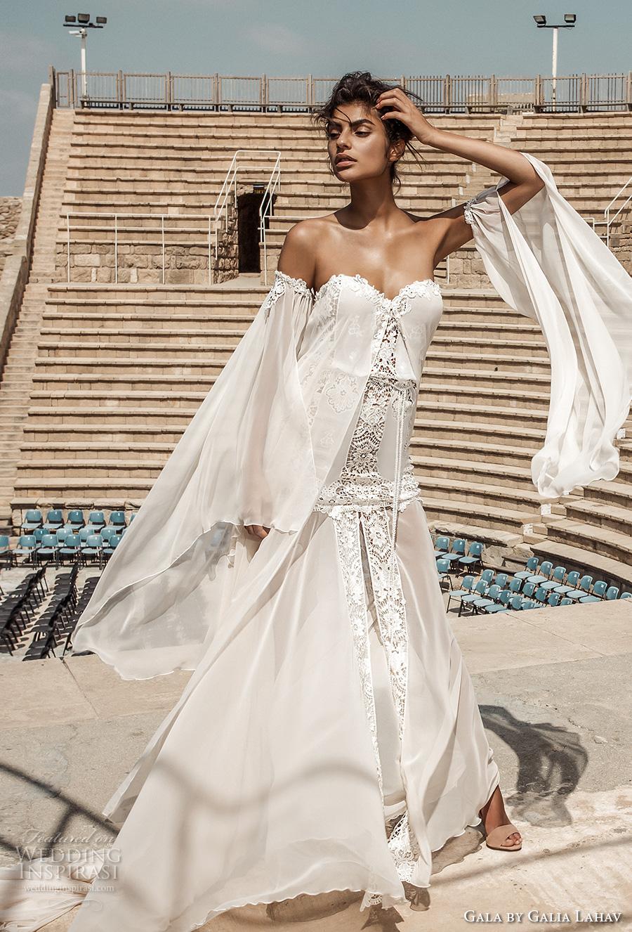 galia lahav gala 2017 bridal off the shoulder long angel sleeves strapless sweetheart neckline light embellished vintage drop waist a  line wedding dress chapel train (806) mv