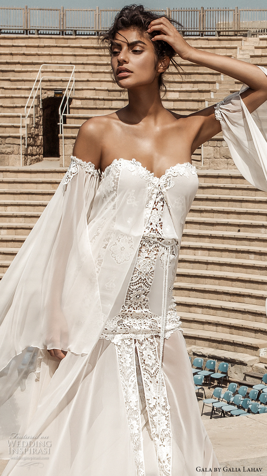galia lahav gala 2017 bridal off the shoulder long angel sleeves strapless sweetheart neckline light embellished vintage drop waist a  line wedding dress chapel train (806) zv