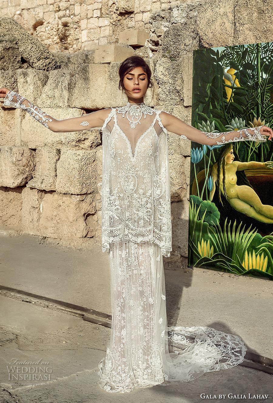 galia lahav gala 2017 bridal sheer long sleeves illusion high neck topper deep v neck full embellishment elegant vintage lace column wedding dress full lace back chapel train (807) mv