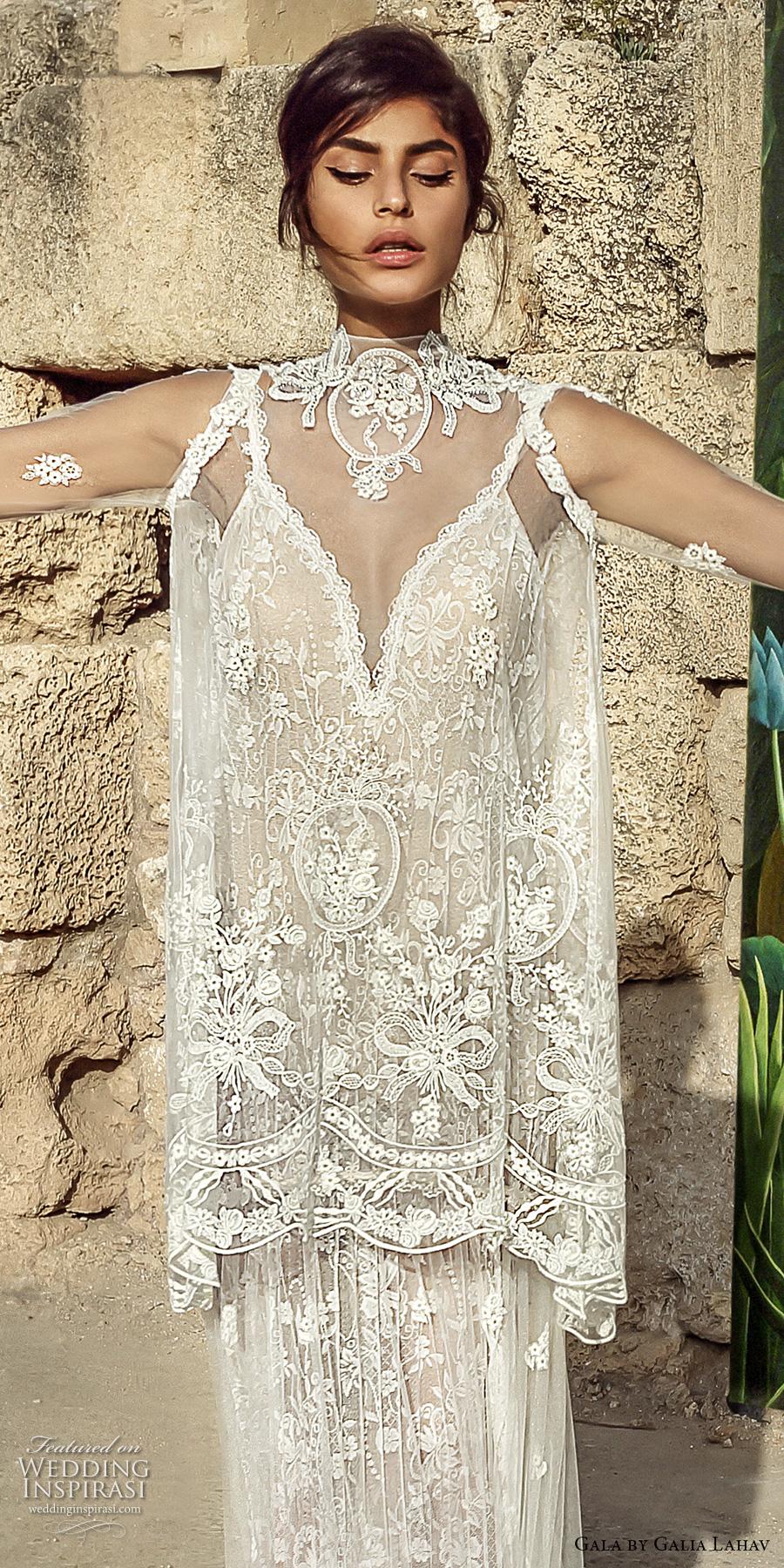 galia lahav gala 2017 bridal sheer long sleeves illusion high neck topper deep v neck full embellishment elegant vintage lace column wedding dress full lace back chapel train (807) zv
